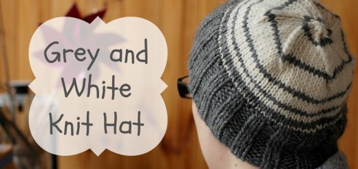 Grey and White Knit Hat